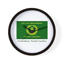 Greensboro NC Flag Wall Clock
