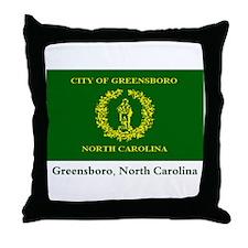 Greensboro NC Flag Throw Pillow