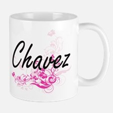 Chavez surname artistic design with Flowers Mugs