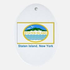 Staten Island NY Flag Oval Ornament
