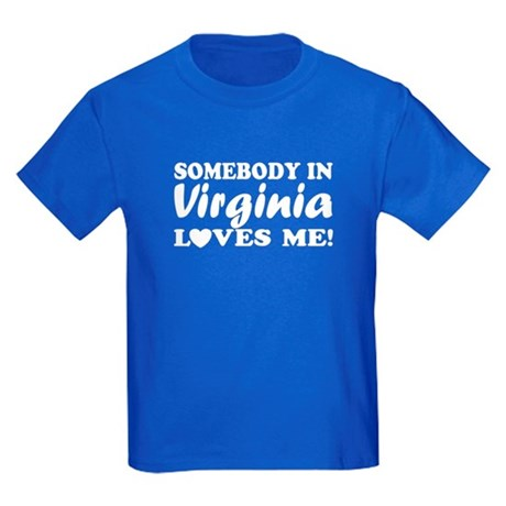 Somebody in Virginia Loves Me Kids Dark T-Shirt
