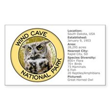 Wind Cave NP (Great Horned Owl) Sticker (Rectangul
