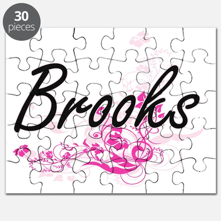 Brooks surname artistic design with Flowers Puzzle