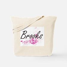 Brooks surname artistic design with Flowe Tote Bag