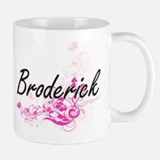 Broderick surname artistic design with Flower Mugs