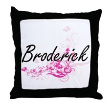 Broderick surname artistic design wit Throw Pillow