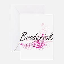 Broderick surname artistic design w Greeting Cards