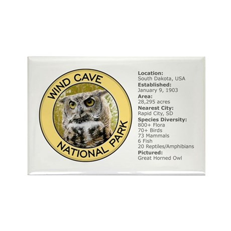 Wind Cave NP (Great Horned Owl) Rectangle Magnet