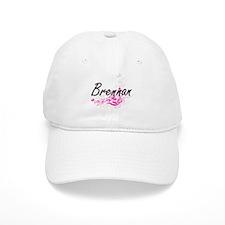 Brennan surname artistic design with Flowers Baseball Cap