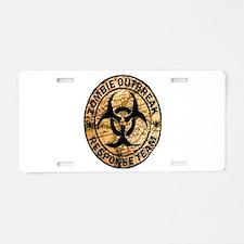 zombie outbreak response te Aluminum License Plate