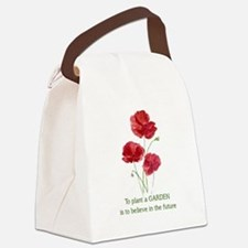 Red Poppy Plant a Garden Quote Canvas Lunch Bag