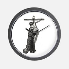 St. Francis Embraces Jesus on Cross #3 Wall Clock