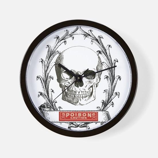 poison steampunk skeleton skull Wall Clock