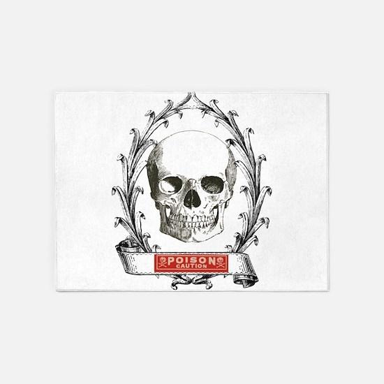 poison steampunk skeleton skull 5'x7'Area Rug