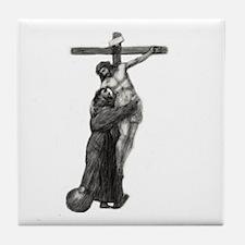 St. Francis Embraces Jesus on Cross # Tile Coaster