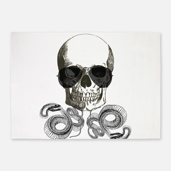 rock n roll skeleton skull 5'x7'Area Rug