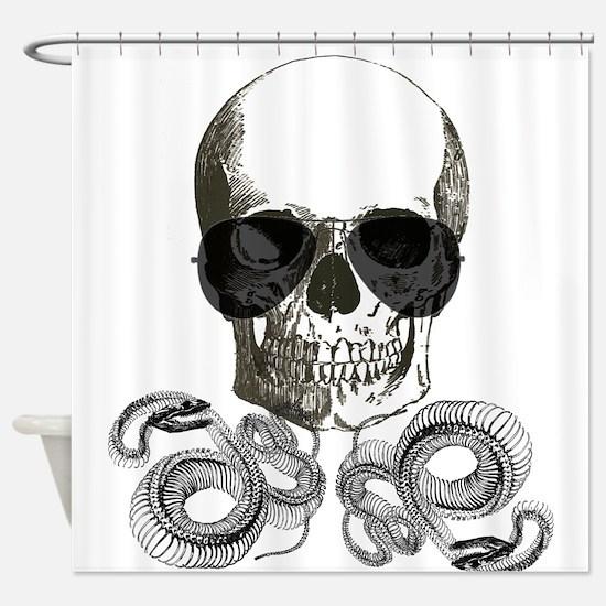 rock n roll skeleton skull Shower Curtain
