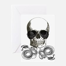 rock n roll skeleton skull Greeting Cards