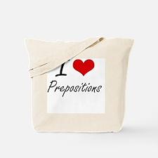I Love Prepositions Tote Bag