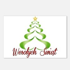 Wesolych Swiat Ribbon Tree Postcards (Package of 8