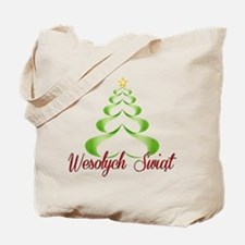 Wesolych Swiat Ribbon Tree Tote Bag