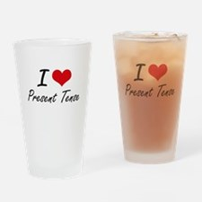 I Love Present Tense Drinking Glass