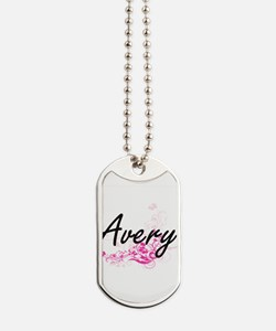 Avery surname artistic design with Flower Dog Tags