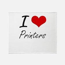 I Love Printers Throw Blanket