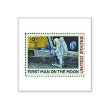 US First Man on Moon 10Cent Greeting Card Sticker