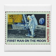 US First Man on Moon 10Cent Greeting Tile Coaster