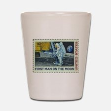 US First Man on Moon 10Cent Greeting C Shot Glass