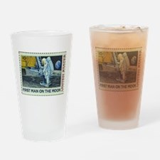 US First Man on Moon 10Cent Greeti Drinking Glass