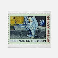 US First Man on Moon 10Cent Greetin Throw Blanket