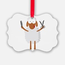happy sheep hairdresser coiffeur Ornament