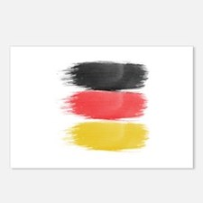 Germany Flag paint-brush Postcards (Package of 8)