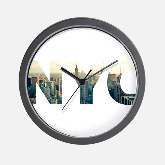 NYC for NEW YORK CITY - Typo Wall Clock