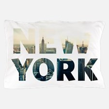 New York - Sunset - Typo Pillow Case