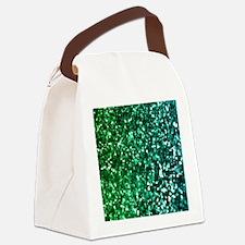 Emerald Glitter Canvas Lunch Bag