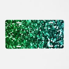 Emerald Glitter Aluminum License Plate