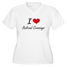 I Love Railroad Crossings Plus Size T-Shirt