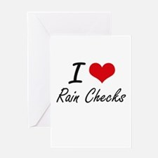I Love Rain Checks Greeting Cards