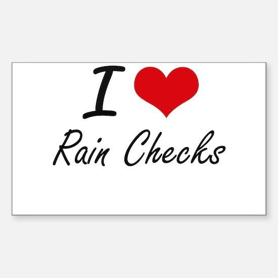 I Love Rain Checks Decal