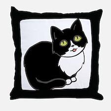 Tuxedo Cat Tuxie Throw Pillow