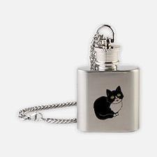 Tuxedo Cat Tuxie Flask Necklace