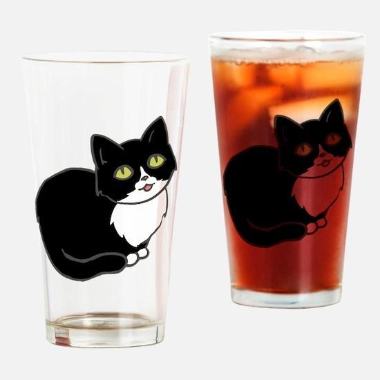 Tuxedo Cat Tuxie Drinking Glass
