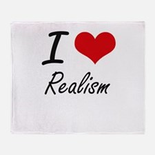 I Love Realism Throw Blanket
