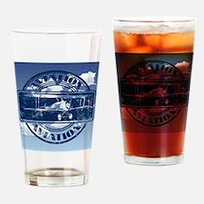 Retro Aviation Art Drinking Glass