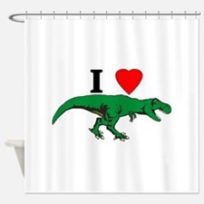 T Rex Green Shower Curtain