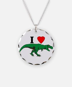 T Rex Green Necklace Circle Charm