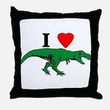 T Rex Green Throw Pillow